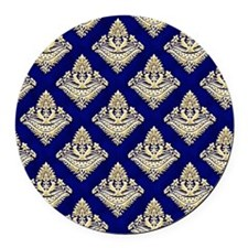 Elegant Medieval Blue and Gold Round Car Magnet