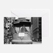Brooklyn Bridge Trolley Greeting Card