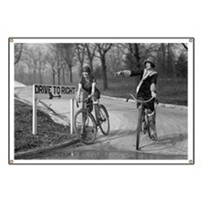 Flapper Girls Riding Bicycles Banner