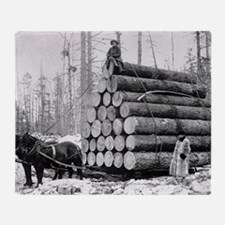 Hauling a Load of Logs Throw Blanket