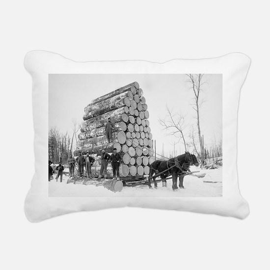 Loggers At Work Rectangular Canvas Pillow