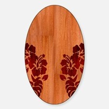 Faux Wood Hibiscus Sticker (Oval)