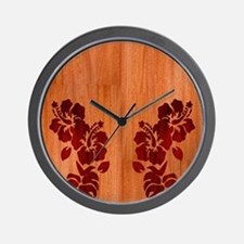 Faux Wood Hibiscus Wall Clock