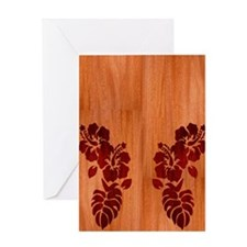Faux Wood Hibiscus Greeting Card