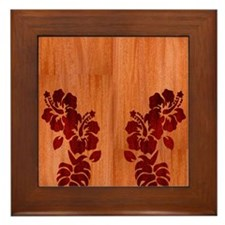 Faux Wood Hibiscus Framed Tile