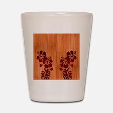 Faux Wood Hibiscus Shot Glass