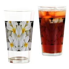 White Hawaii Plumerias Drinking Glass
