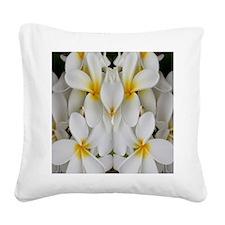 White Hawaii Plumerias Square Canvas Pillow