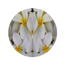 "White Hawaii Plumerias 3.5"" Button"