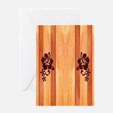 Faux Wood Surfboard Greeting Card