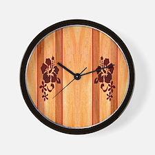 Faux Wood Surfboard Wall Clock