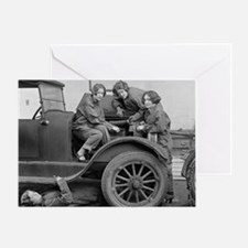 Young Lady Auto Mechanics Greeting Card