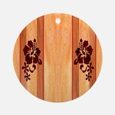 Faux Wood Surfboard Round Ornament