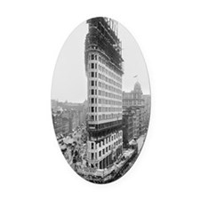 Flatiron Building Construction Oval Car Magnet