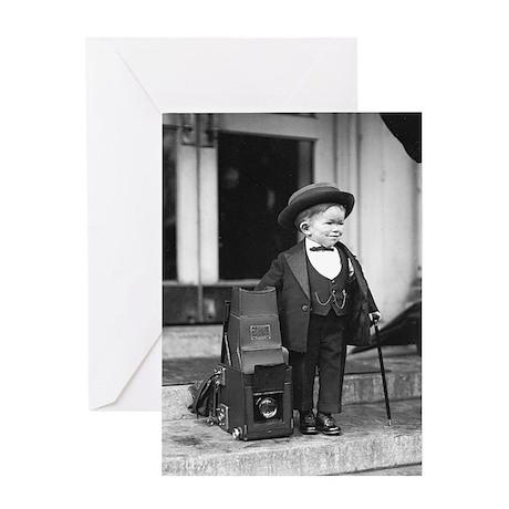Midget Beside Press Camera Greeting Card