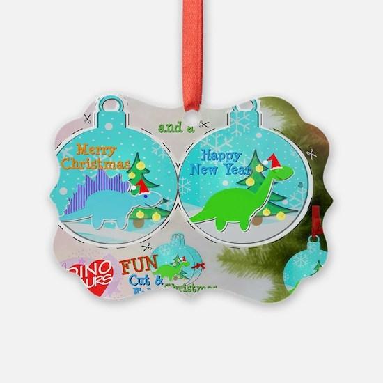 Merry Christmas Cartoon Dinosaur  Ornament