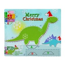 Cute Christmas Cartoon Dinosaur Craf Throw Blanket