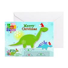 Cute Christmas Cartoon Dinosaur Craf Greeting Card