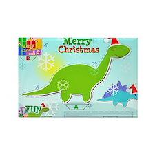 Cute Christmas Cartoon Dinosaur C Rectangle Magnet