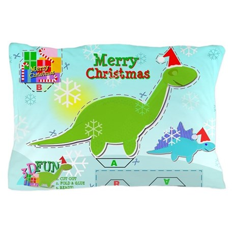 Cute christmas cartoon dinosaur craft pillow case by admin for White craft pillow cases