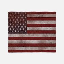 Distress Textured American flag Throw Blanket