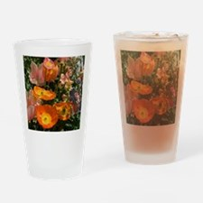 Orange Poppies and Pink Tulips Drinking Glass