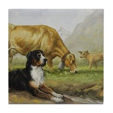 Greater Swiss Mountain Dog and Brown  Tile Coaster