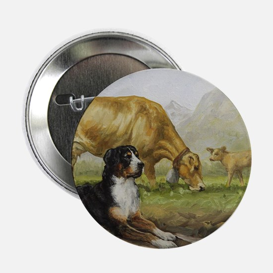 "Greater Swiss Mountain Dog and Brown  2.25"" Button"