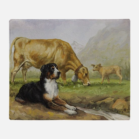 Greater Swiss Mountain Dog and Brown Throw Blanket
