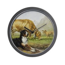 Greater Swiss Mountain Dog and Brown Sw Wall Clock