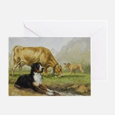Greater Swiss Mountain Dog and Brown Greeting Card