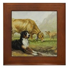 Greater Swiss Mountain Dog and Brown S Framed Tile