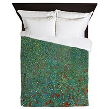 Poppy Field by Gustav Klimt Queen Duvet
