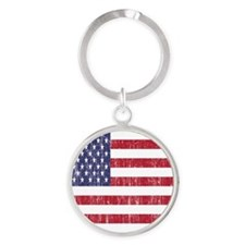 Distressed American Flag Round Keychain