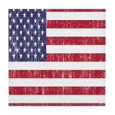 Distressed American Flag Tile Coaster
