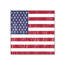 "Distressed American Flag Square Sticker 3"" x 3"""