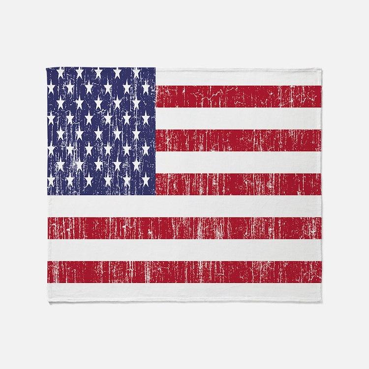 Distressed American Flag Throw Blanket