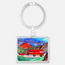 Red Camper and Sports Car art Landscape Keychain