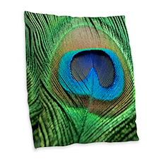 Peacock Feather Burlap Throw Pillow