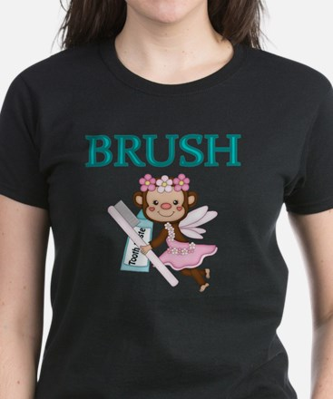 BRUSH. With picture of  Tooth Women's Dark T-Shirt