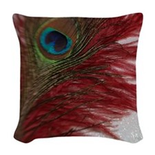 Red and White Peacock Woven Throw Pillow