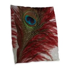 Red and White Peacock Burlap Throw Pillow
