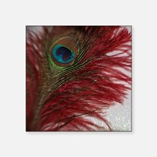 """Red and White Peacock Square Sticker 3"""" x 3"""""""