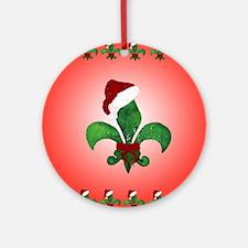 Santa Christmas Fleur de lis Round Ornament