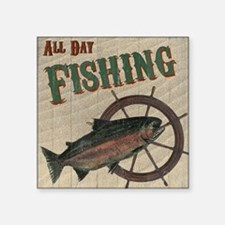 """All Day Fishing Square Sticker 3"""" x 3"""""""
