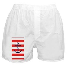 Blue Anchor on Red Stripes Boxer Shorts