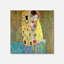 "The Kiss by Gustav Klimt Square Sticker 3"" x 3"""