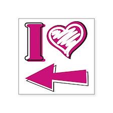 "I heart - Pink Arrow Square Sticker 3"" x 3"""