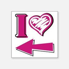 "I heart - Pink Arrow Square Sticker 3"" x 3"""