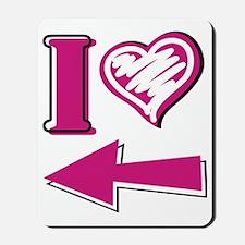 I heart - Pink Arrow Mousepad